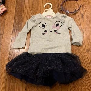 Kids kitty cat tutu with head band